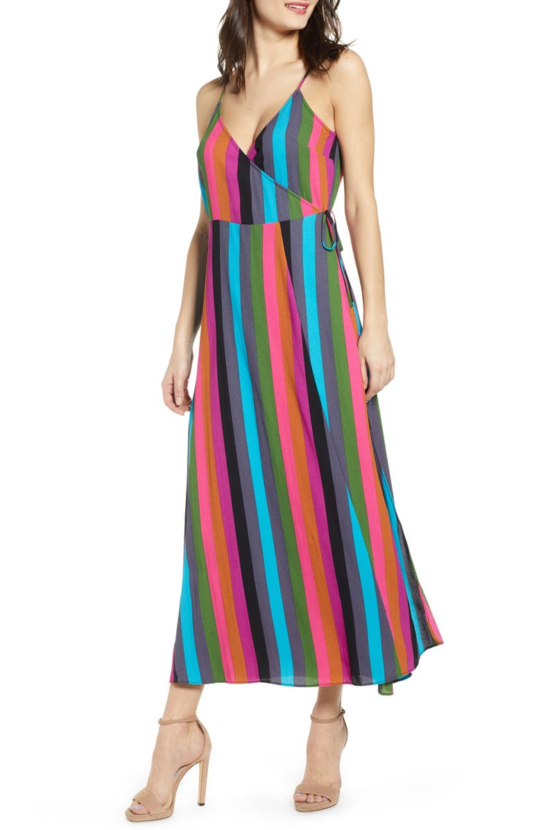 LEITH Maxi Wrap Dress, Main, color, BLUE SAVVY SUMMER STRIPE
