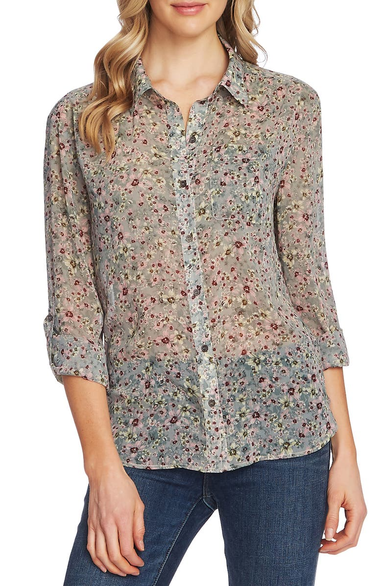 VINCE CAMUTO Floral Layers Roll Tab Sleeve Blouse, Main, color, SF JUNIPER ASH