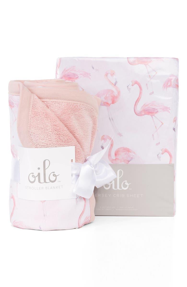 OILO Flamingo Crib Sheet & Cuddle Blanket Set, Main, color, 650
