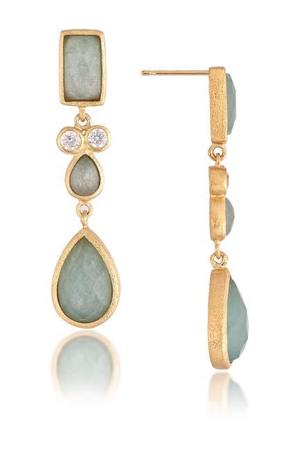 Image of Rivka Friedman 18K Gold Clad Caribbean Blue Topaz Drop Earrings