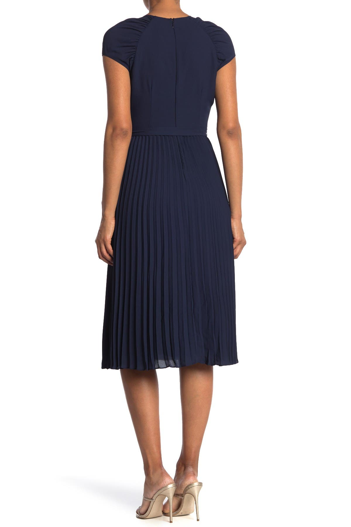 Image of Maggy London Surplice Ruched Shoulder Pleated Midi Dress