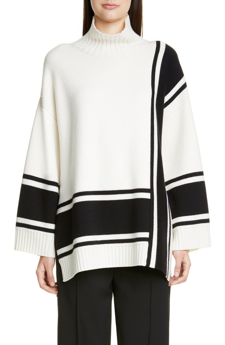 ST. JOHN COLLECTION Bold Stripe Mock Neck Sweater, Main, color, CAVIAR/ CREAM MULTI