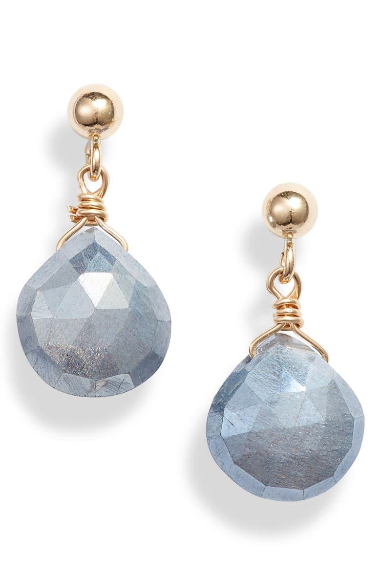 ELA RAE Semiprecious Stone Drop Earrings, Main, color, GOLD