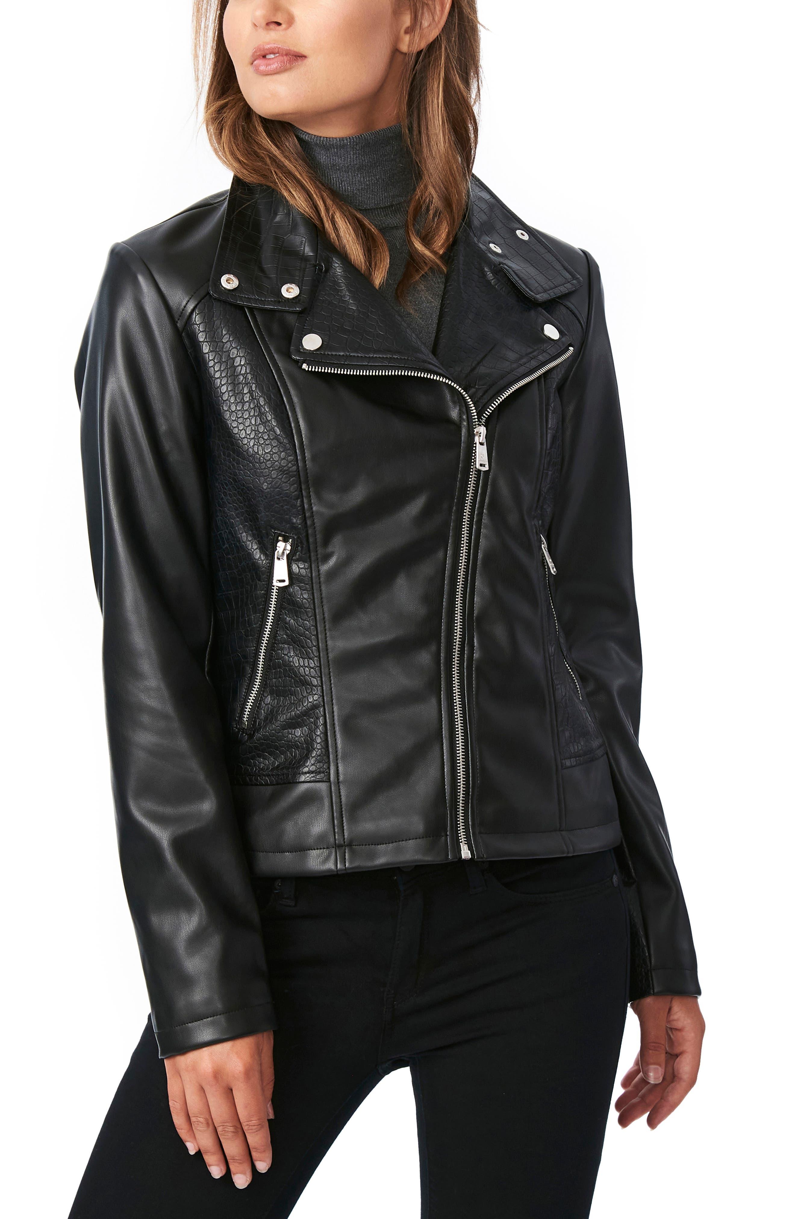 80s Windbreakers, Jackets, Coats Womens Bernardo Croc Embossed Faux Leather Moto Jacket Size XX-Large - Black $89.90 AT vintagedancer.com
