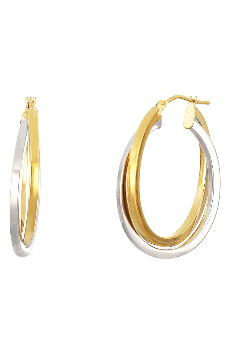 BONY LEVY 14K Gold Two-Tone Crossover Hoop Earrings, Main, color, 713