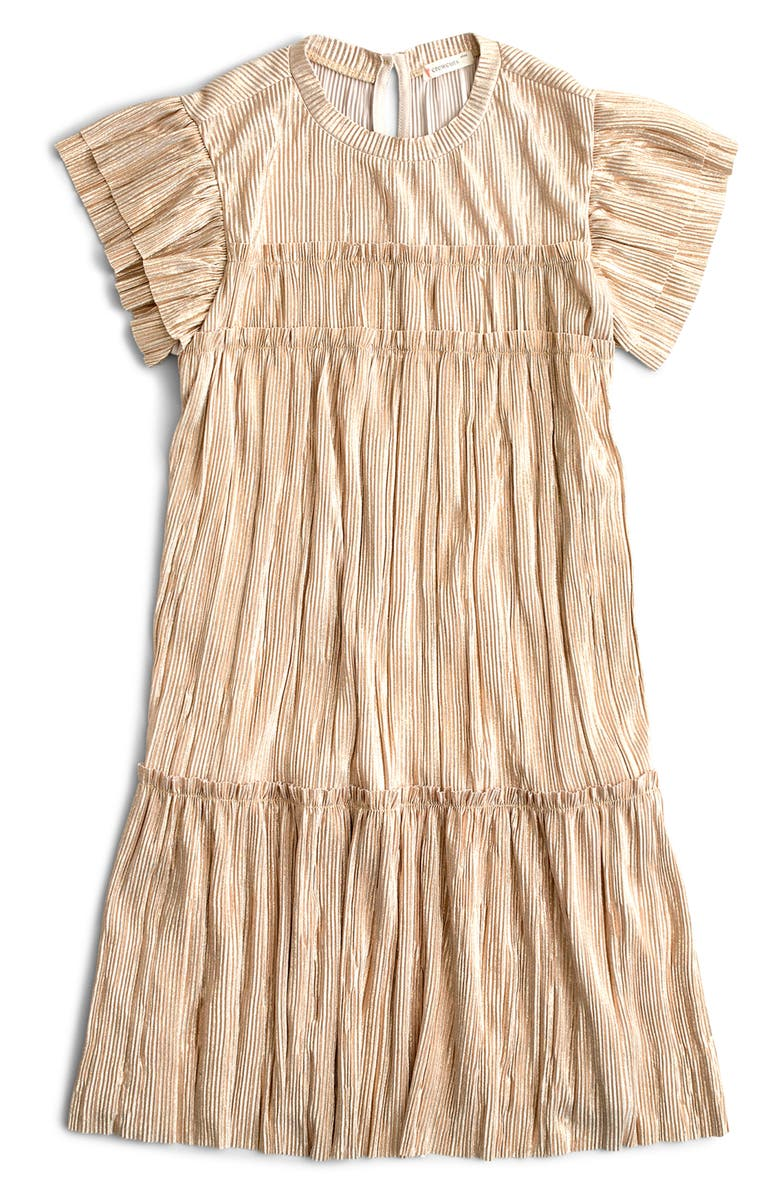 CREWCUTS BY J.CREW Shimmer Metallic Flutter Sleeve Dress, Main, color, GOLD NEW SHIMMER