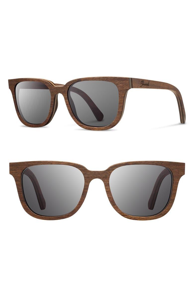 SHWOOD 'Prescott' 53mm Wood Sunglasses, Main, color, WALNUT/ GREY