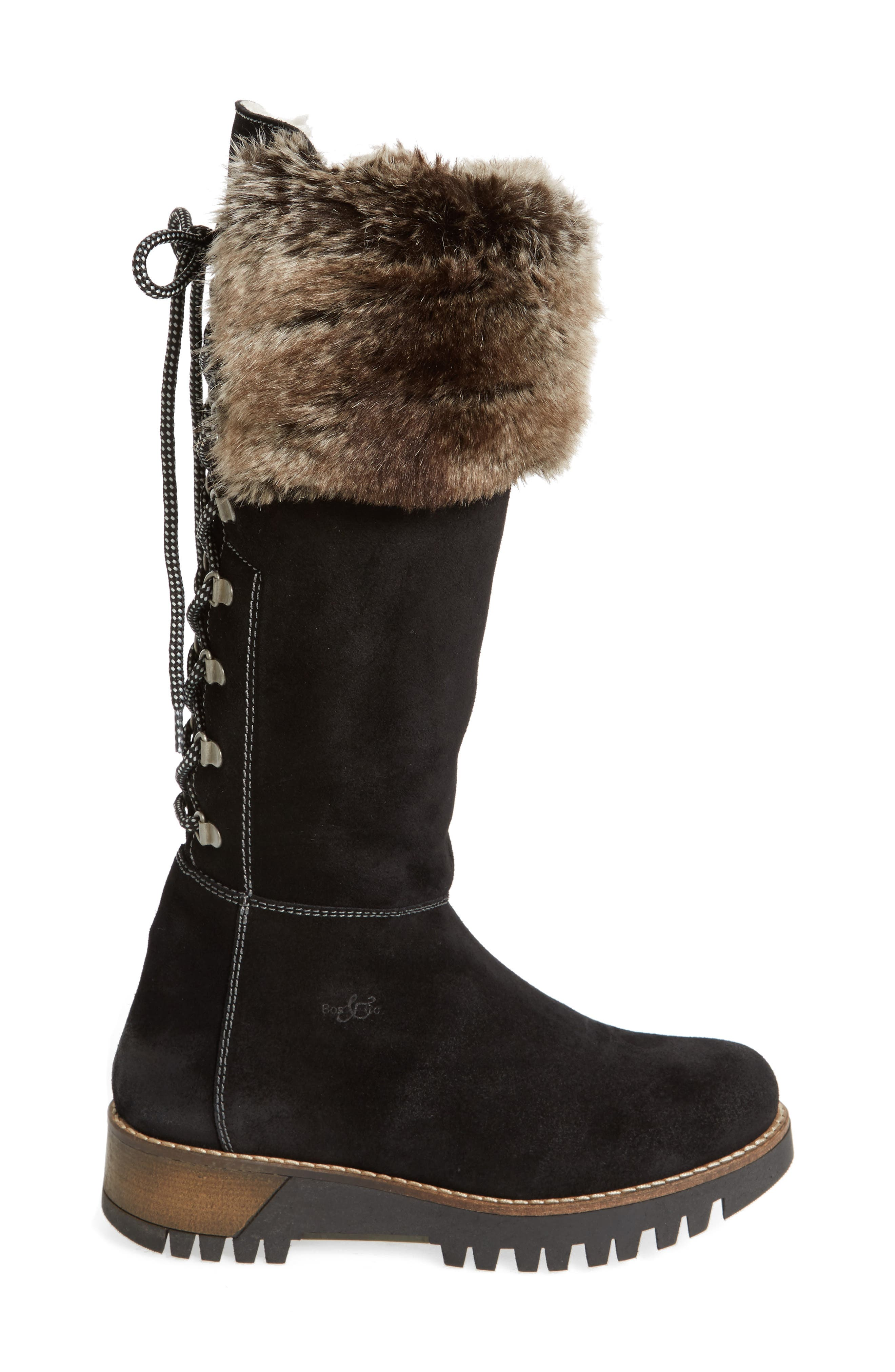 ,                             Graham Waterproof Winter Boot with Faux Fur Cuff,                             Alternate thumbnail 3, color,                             001