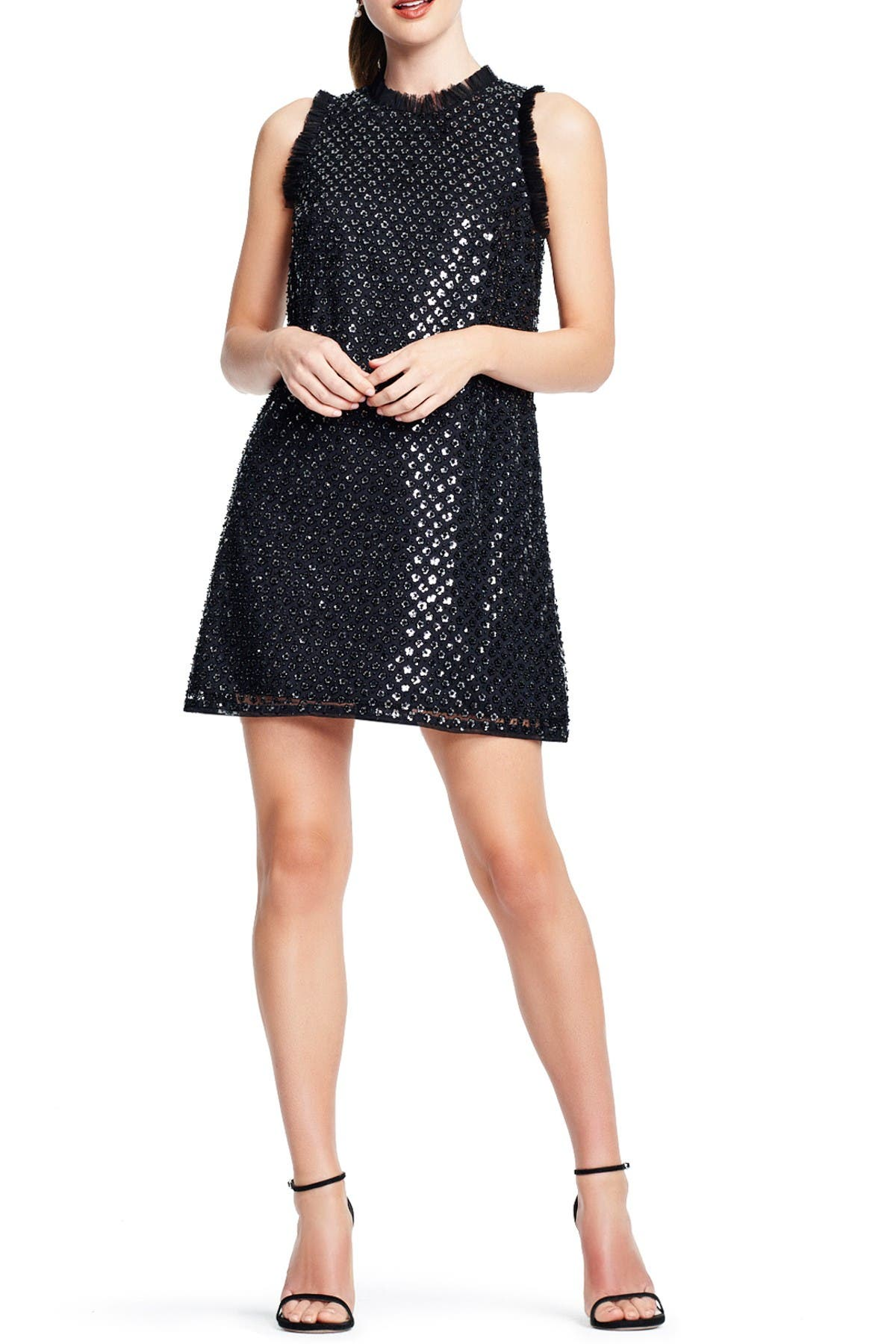 Image of Aidan by Aidan Mattox Sequin Fringe Cocktail Dress