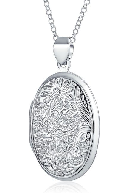 Image of Bling Jewelry Sterling Silver Floral Locket Pendant Necklace