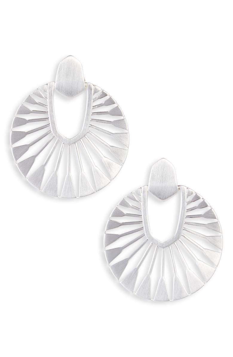 KENDRA SCOTT Didi Sunburst Drop Earrings, Main, color, SILVER