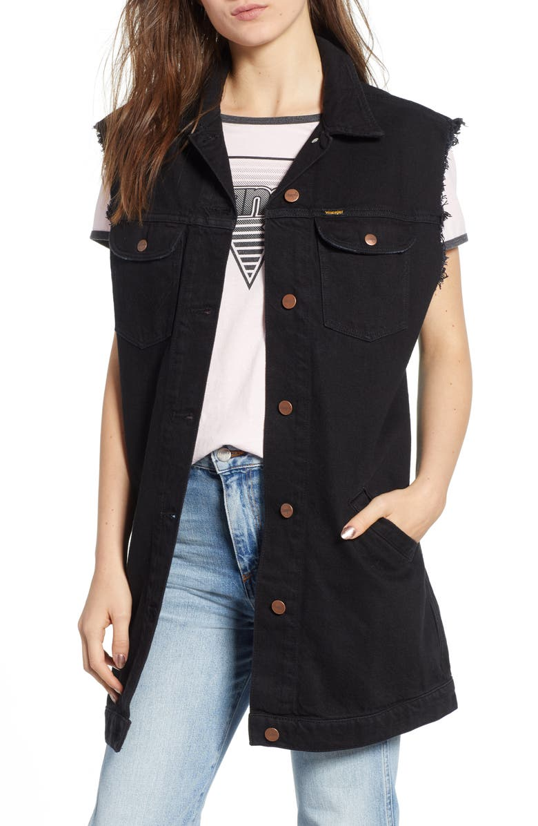 WRANGLER Longline Denim Vest, Main, color, 001