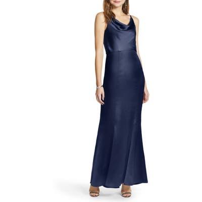 Chi Chi London Marissa Cowl Neck Satin Trumpet Gown, Blue