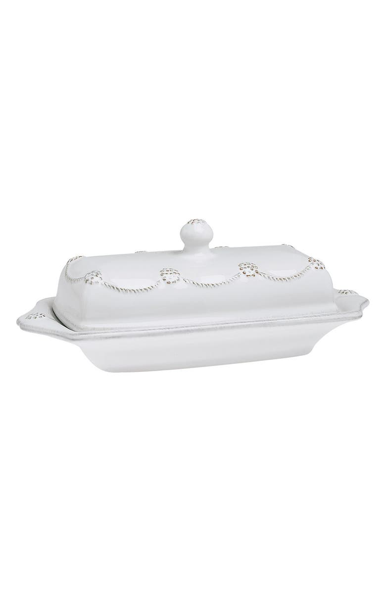 JULISKA 'Berry and Thread' Ceramic Butter Dish, Main, color, WHITEWASH