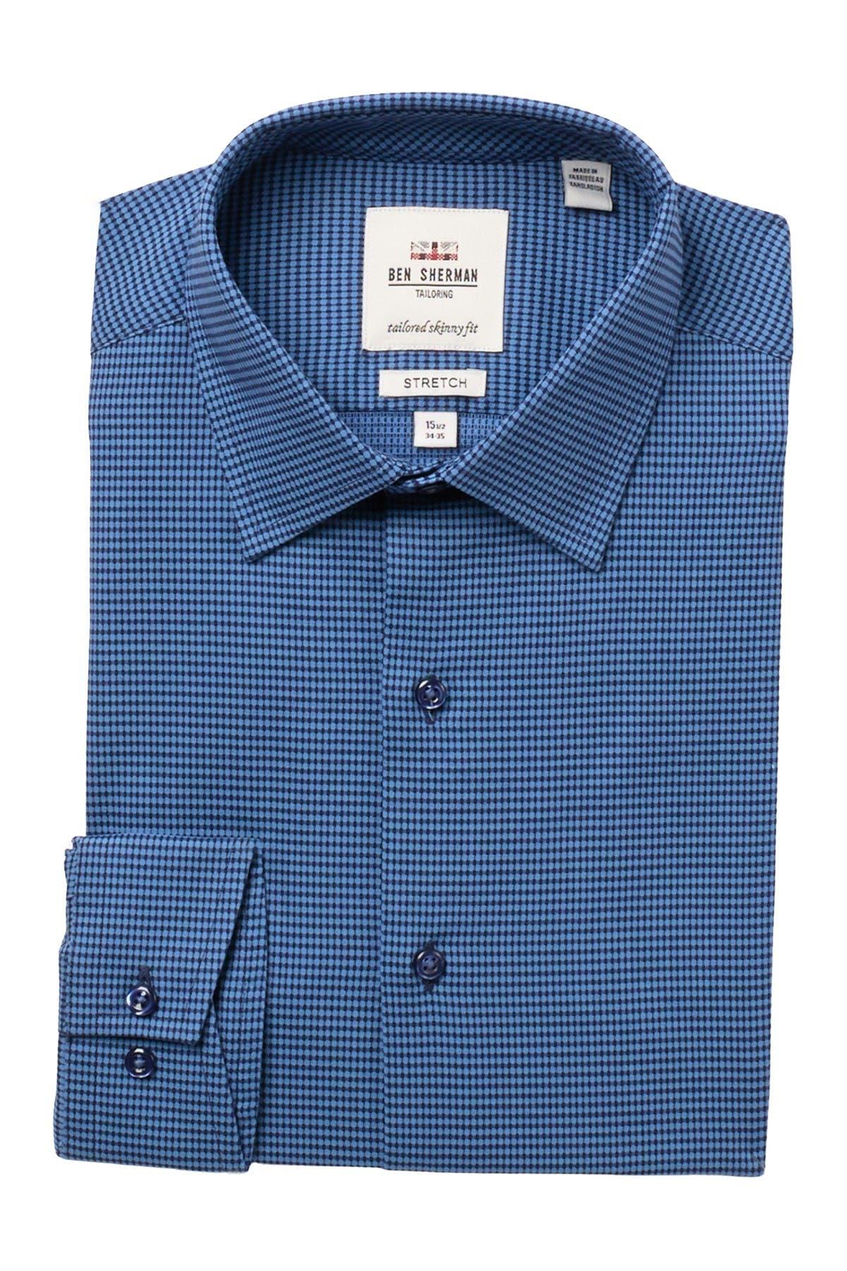 Image of Ben Sherman Micro Print Tailored Skinny Fit Dress Shirt