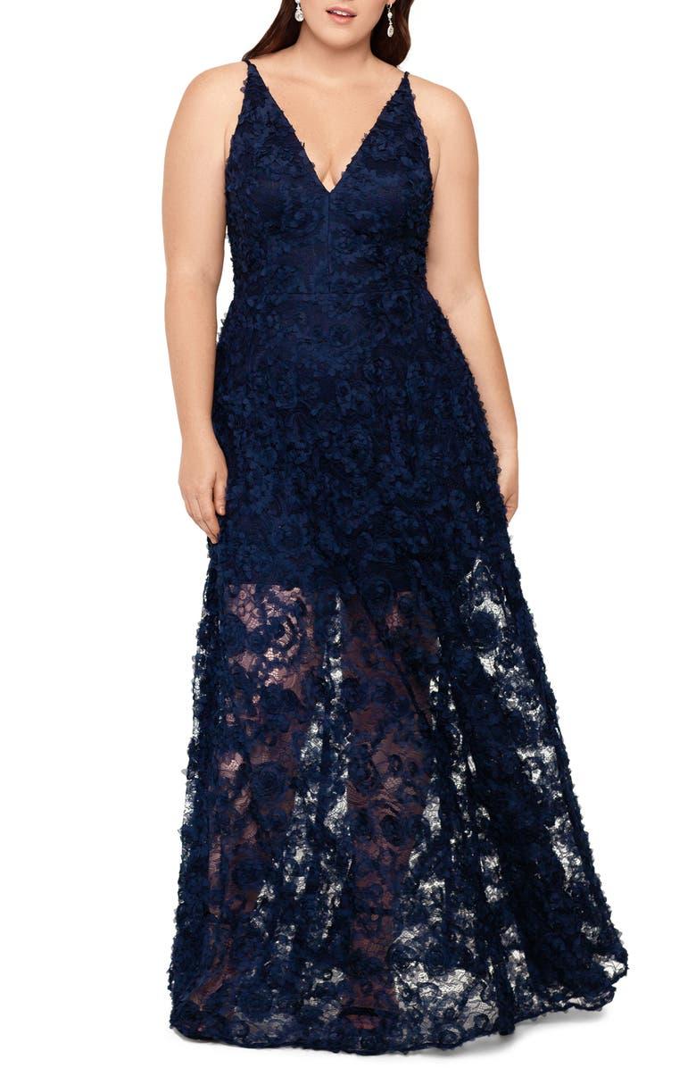XSCAPE 3D Lace A-Line Gown, Main, color, NAVY