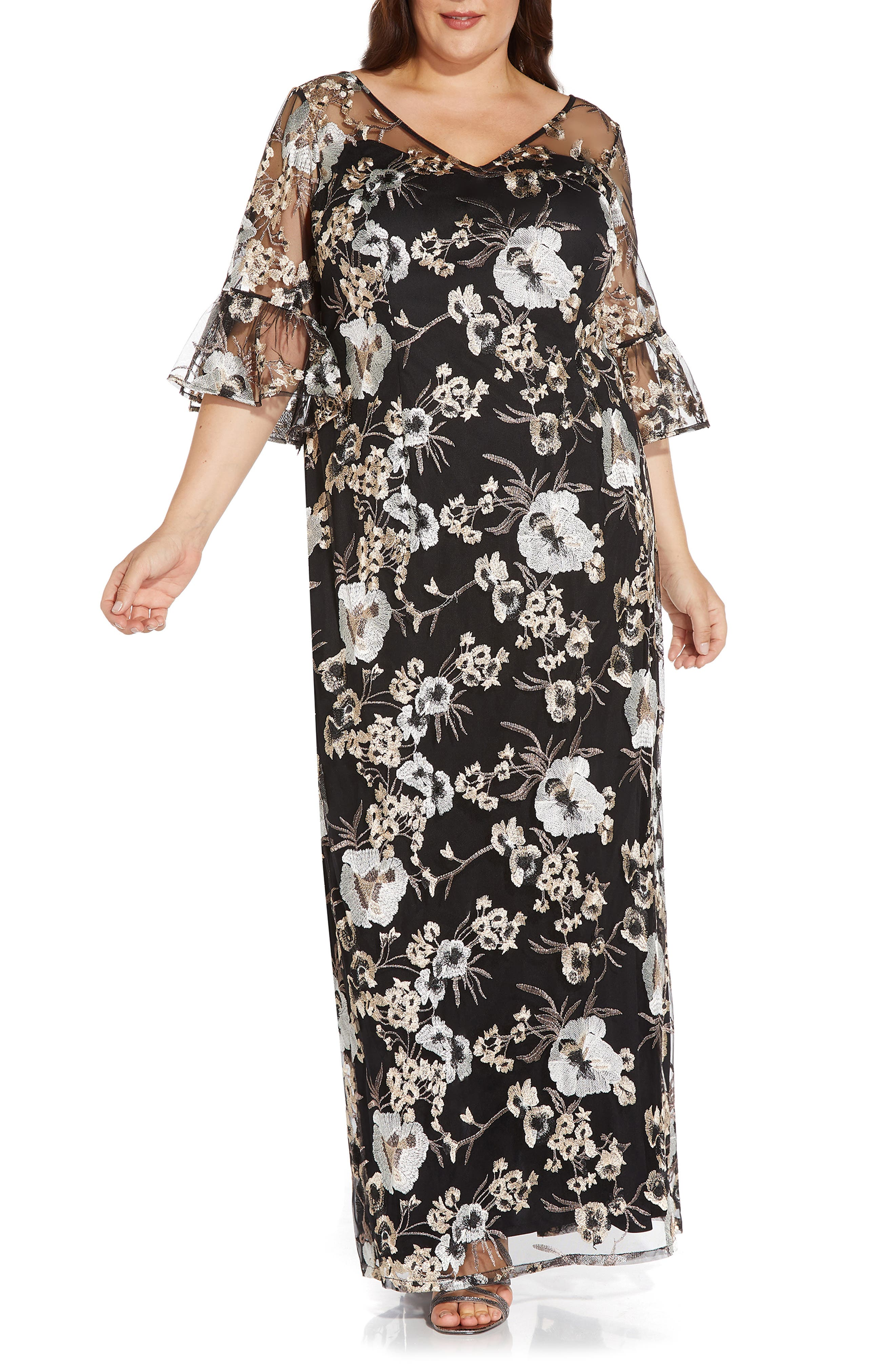 Floral Embroidered Column Gown