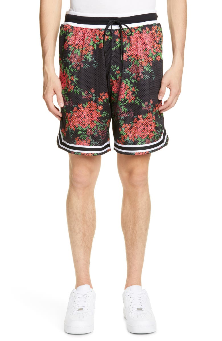 John Elliott Floral Print Basketball Shorts