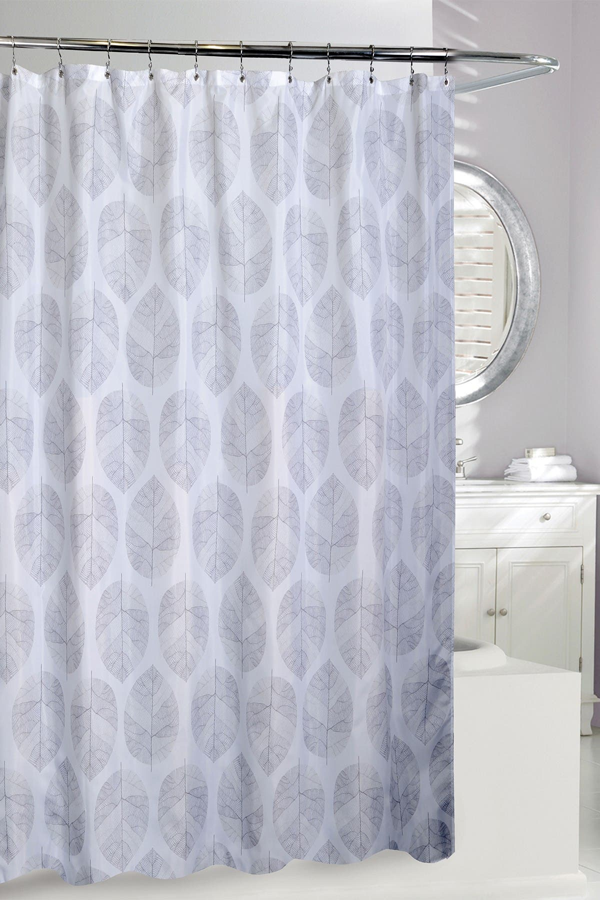 Image of Moda At Home White/Grey A La Mode Shower Curtain