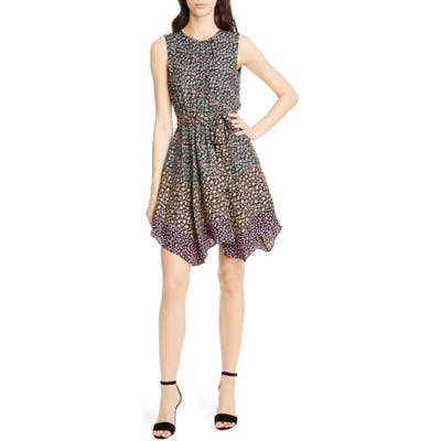Rebecca Taylor Floral Print Silk Dress, Black