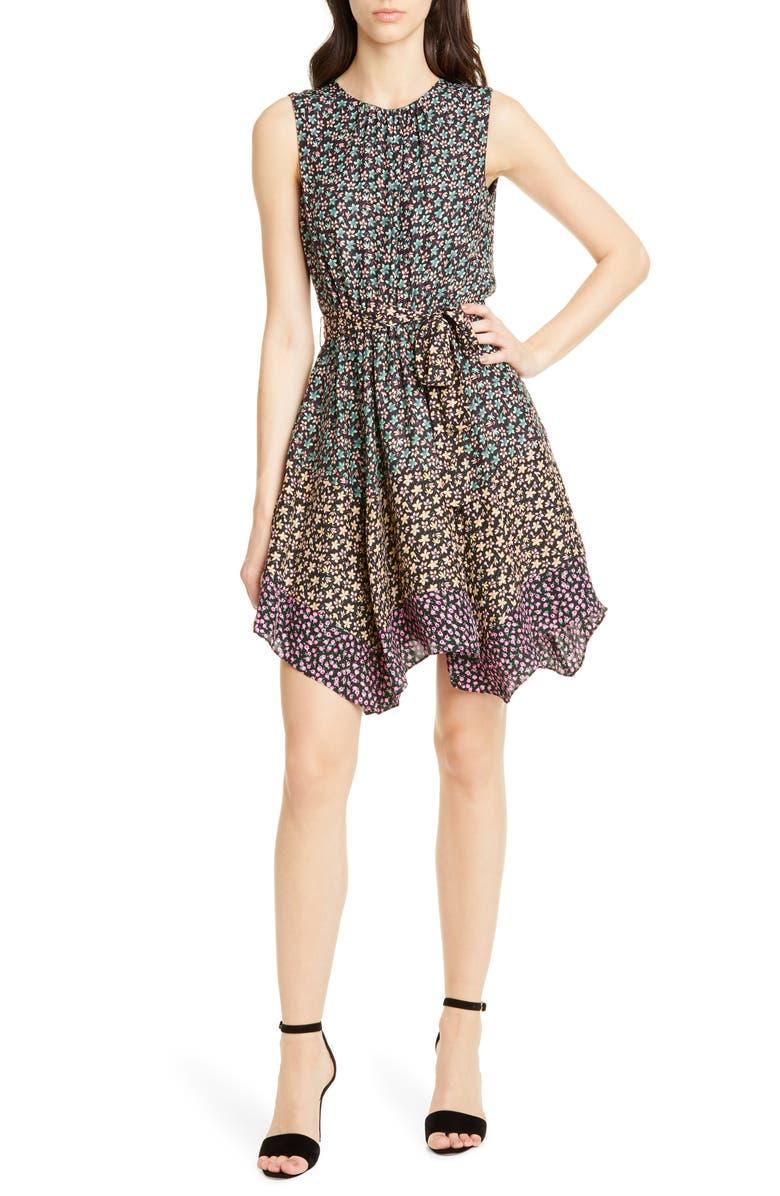 REBECCA TAYLOR Floral Print Silk Dress, Main, color, BLACK COMBO