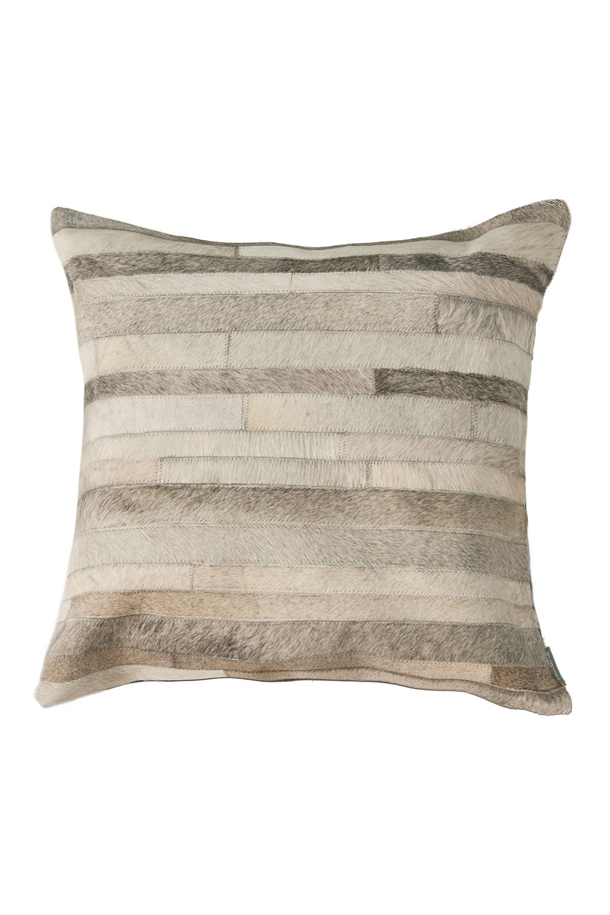 "Image of Natural Torino Classic Large Madrid Genuine Cowhide Pillow - 22""x22"" - Grey"