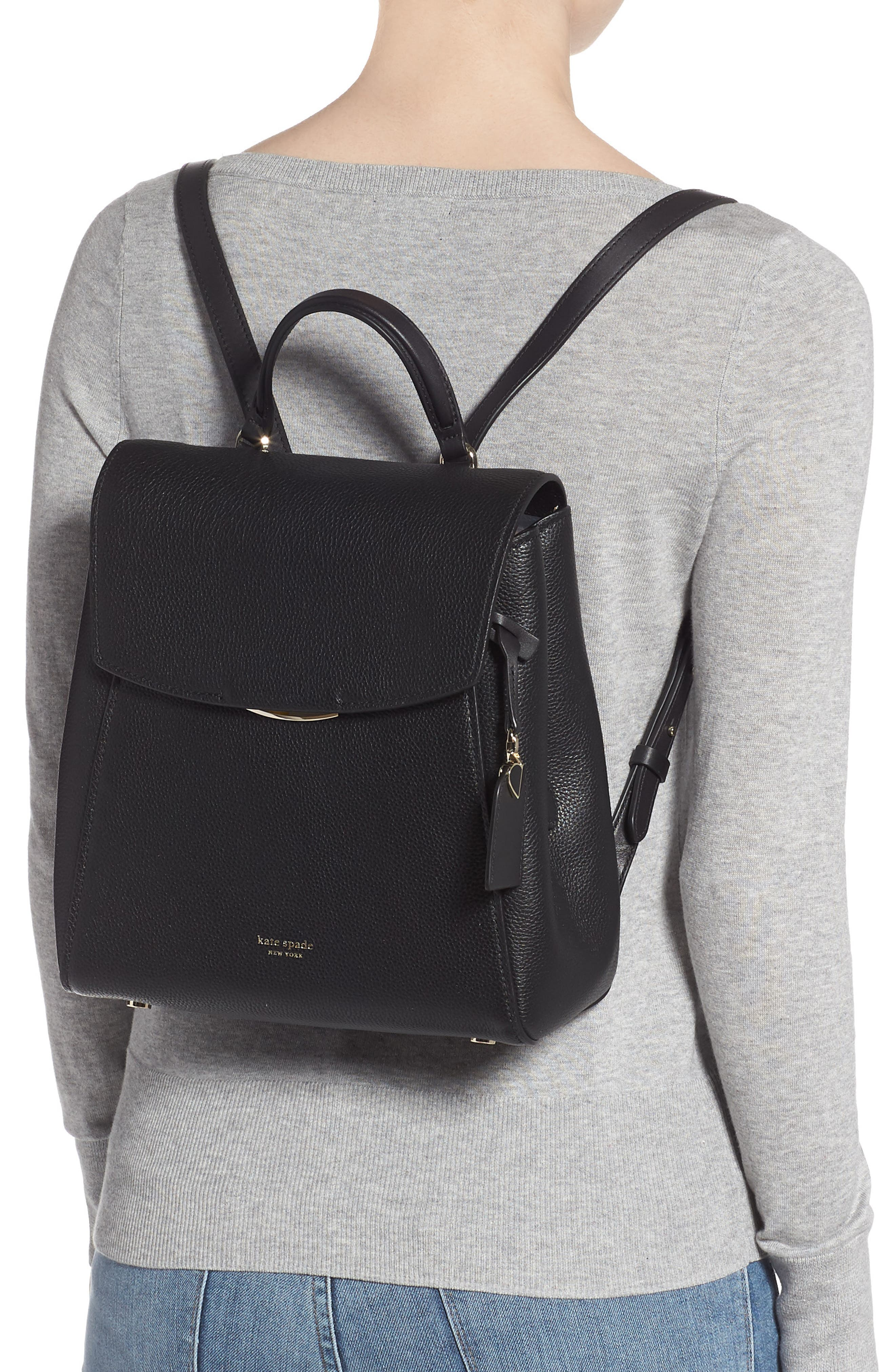 ,                             medium grace leather backpack,                             Alternate thumbnail 2, color,                             BLACK