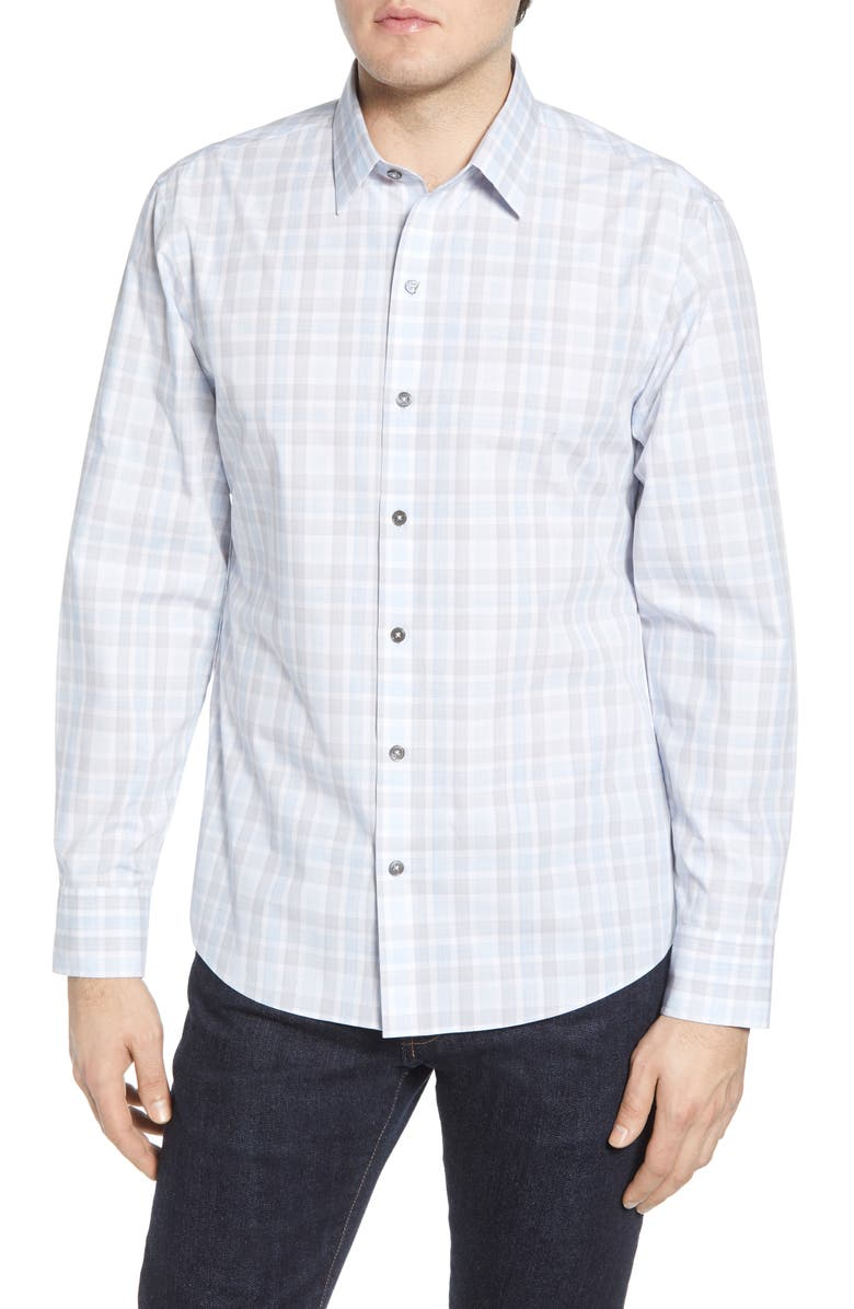 ZACHARY PRELL Limin Regular Fit Plaid Button-Up Sport Shirt, Main, color, WHITE