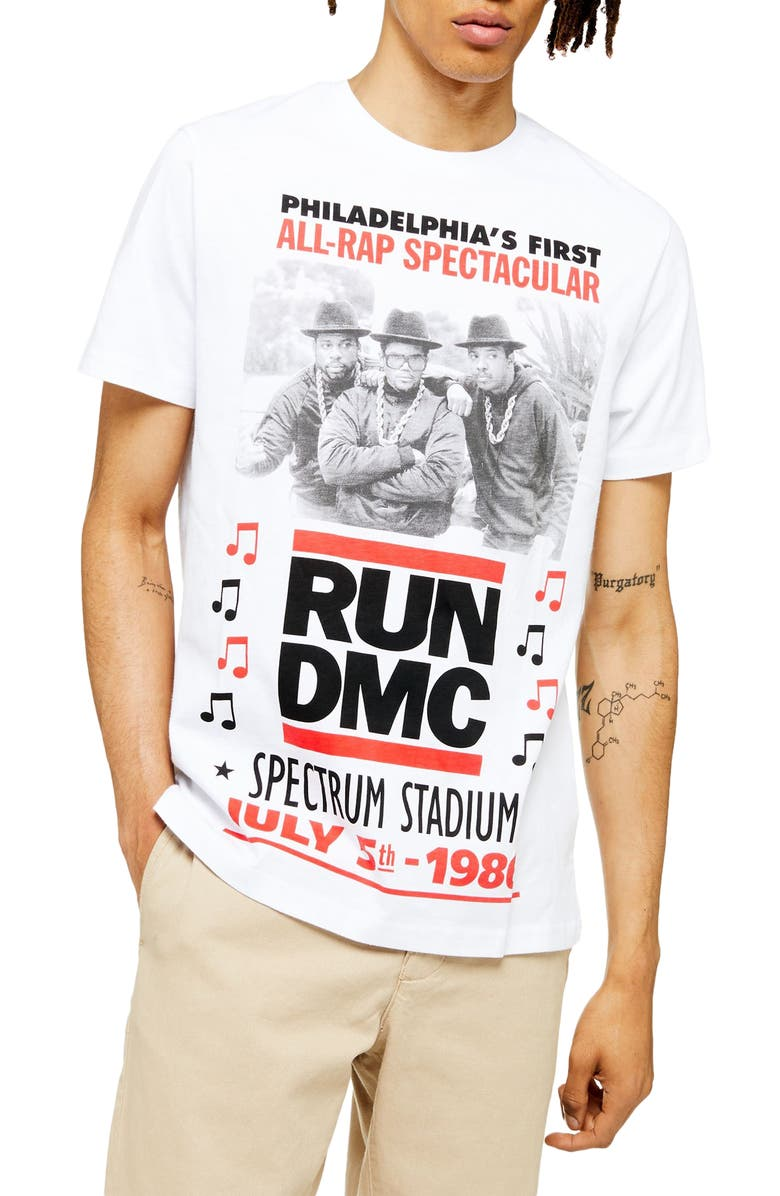 TOPMAN Run-DMC 1986 Graphic T-Shirt, Main, color, WHITE MULTI
