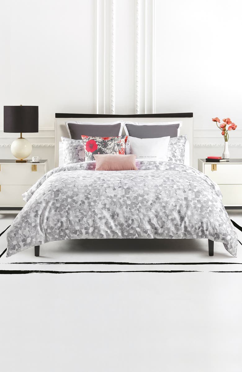 KATE SPADE NEW YORK inky floral comforter & sham set, Main, color, PALE NEUTRAL