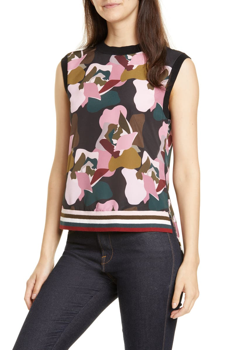 TED BAKER LONDON Strawberry Swirl Knit & Woven Top, Main, color, BLACK