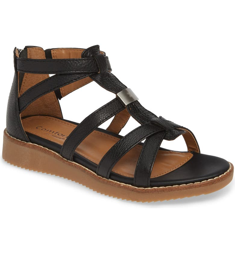 COMFORTIVA Wyola Sandal, Main, color, BLACK LEATHER