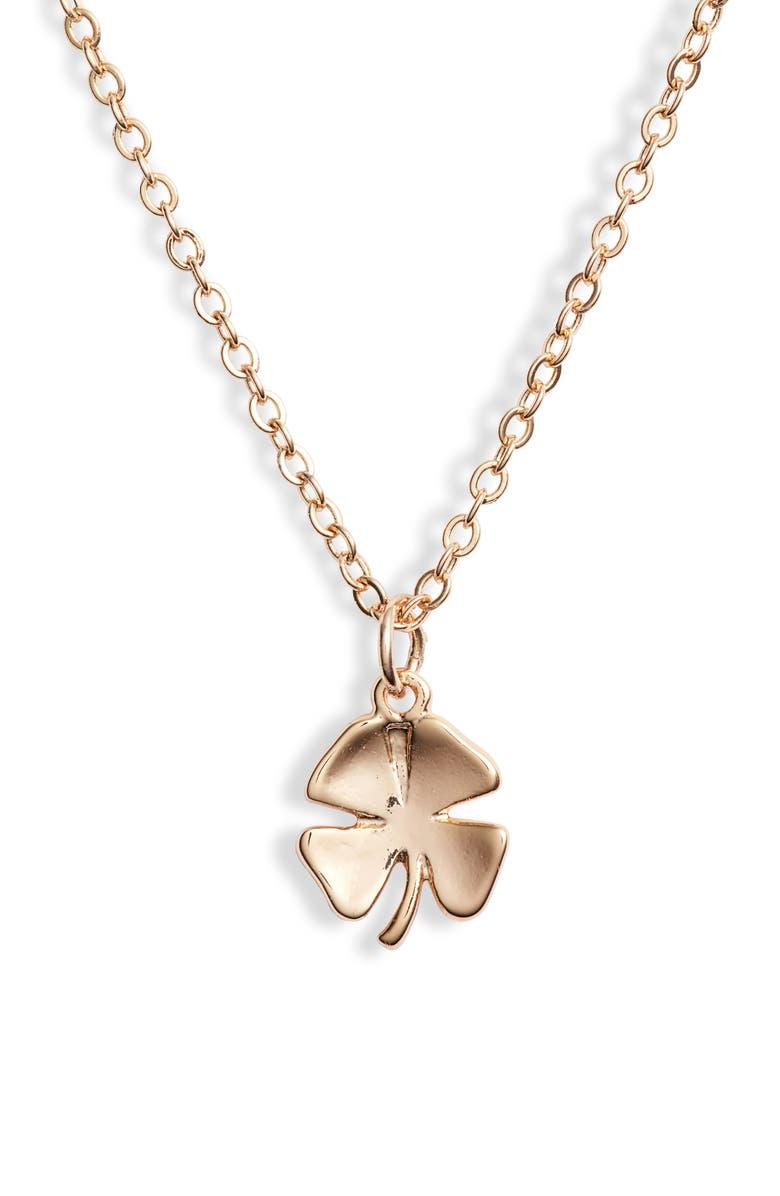 TEN79LA Clover Charm Necklace, Main, color, GOLD