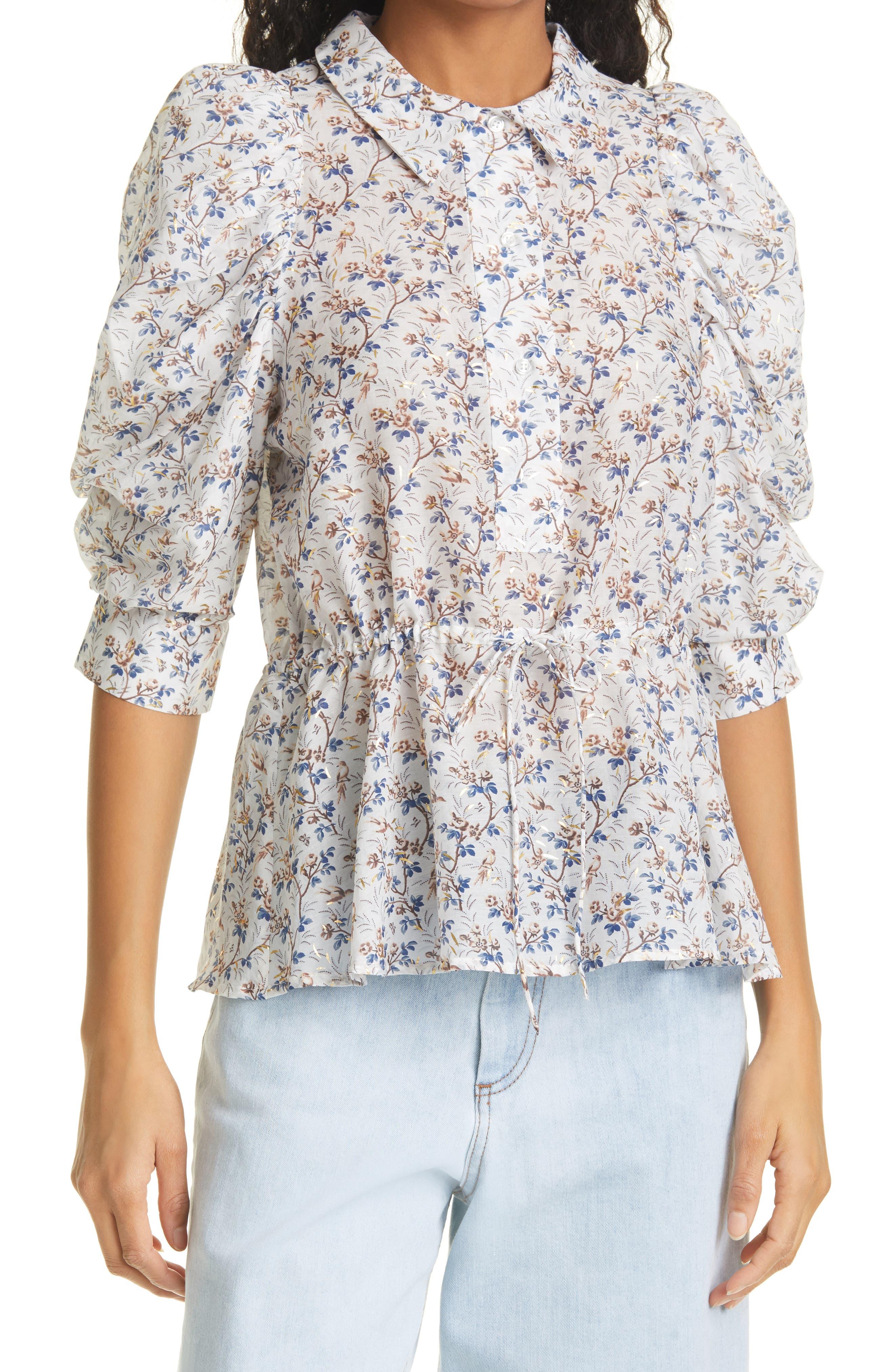Floral Print Tie Front Blouse