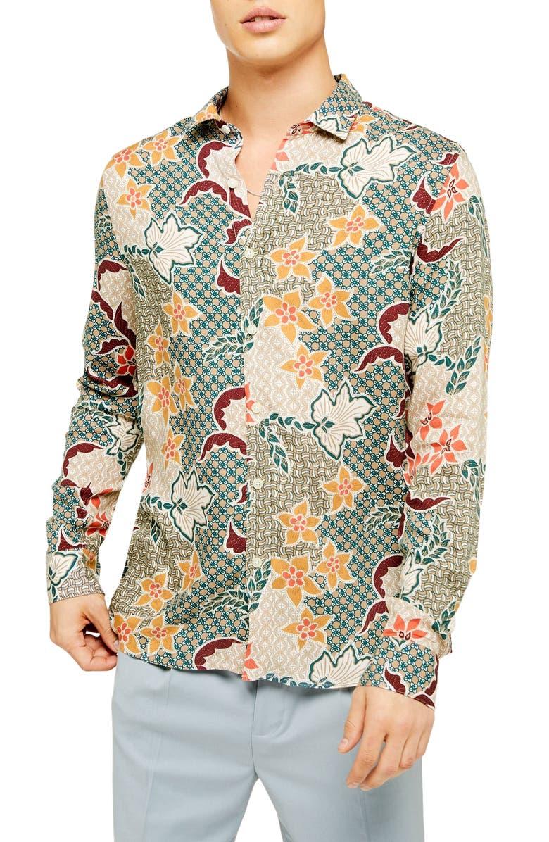 TOPMAN Slim Fit Floral Tile Print Viscose Button-Up Shirt, Main, color, BROWN MULTI