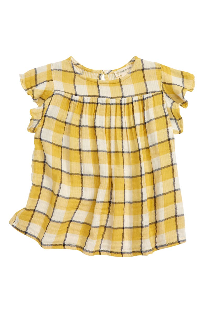 TUCKER + TATE Kids' Flutter Check Top, Main, color, YELLOW MUSTARD FADED PLAID