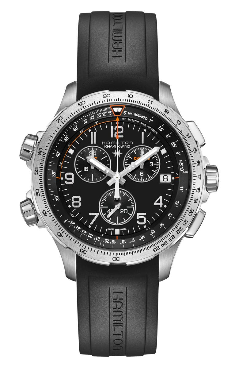 HAMILTON Khaki Aviation X-Wind Chronograph GMT Silicone Strap Watch, 46mm, Main, color, 001