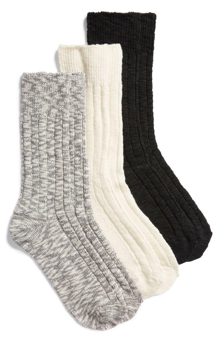 NORDSTROM Favorite 3-Pack Boot Socks, Main, color, BLACK MULTI