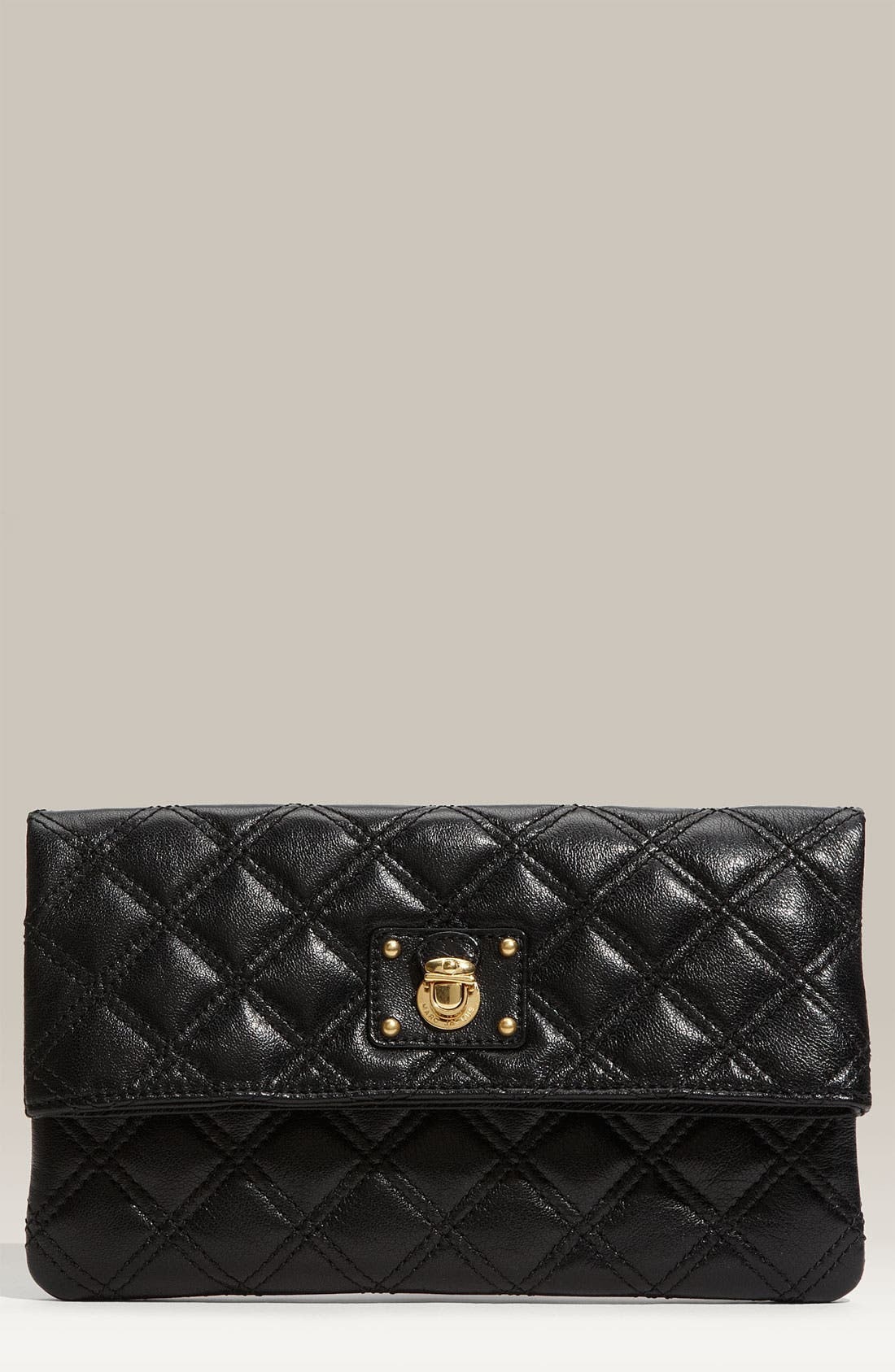 'Quilting - Eugenie' Leather Clutch, Main, color, 002