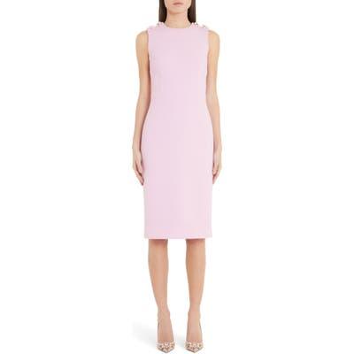 Dolce & gabbana Floral Embellished Cady Midi Sheath Dress, US / 40 IT - Pink