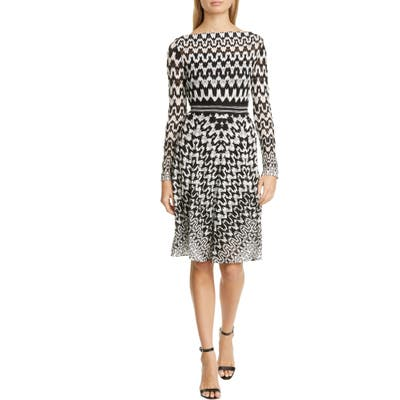 Missoni Zigzag Long Sleeve Fit & Flare Dress, US / 46 IT - Black