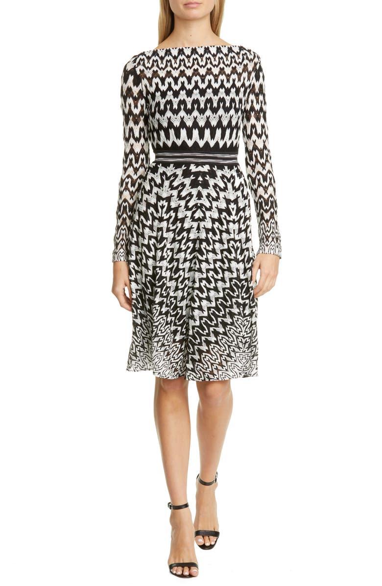 MISSONI Zigzag Long Sleeve Fit & Flare Dress, Main, color, BLACK WHITE