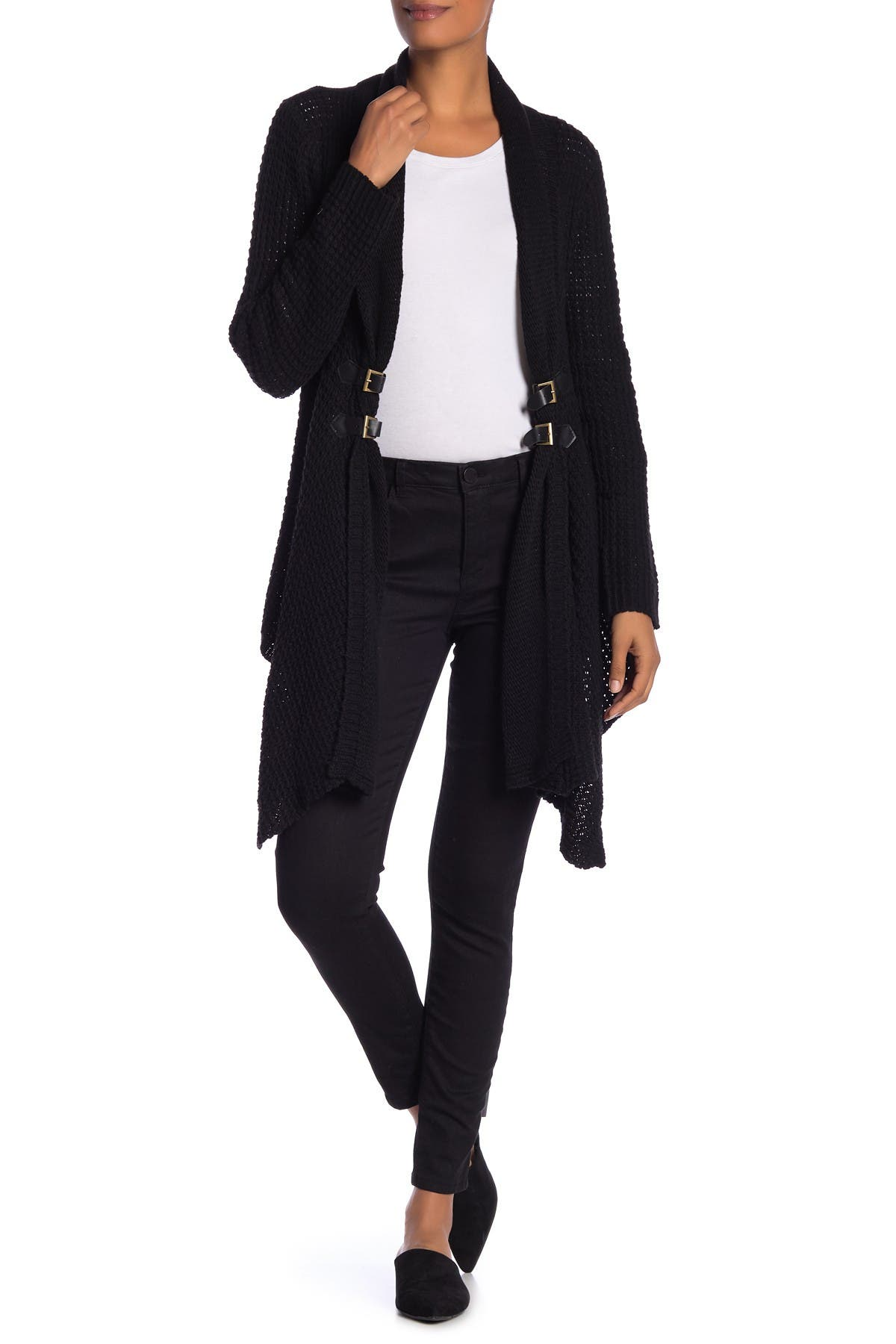 Image of Papillon Waffle Knit Buckle Detail Cardigan