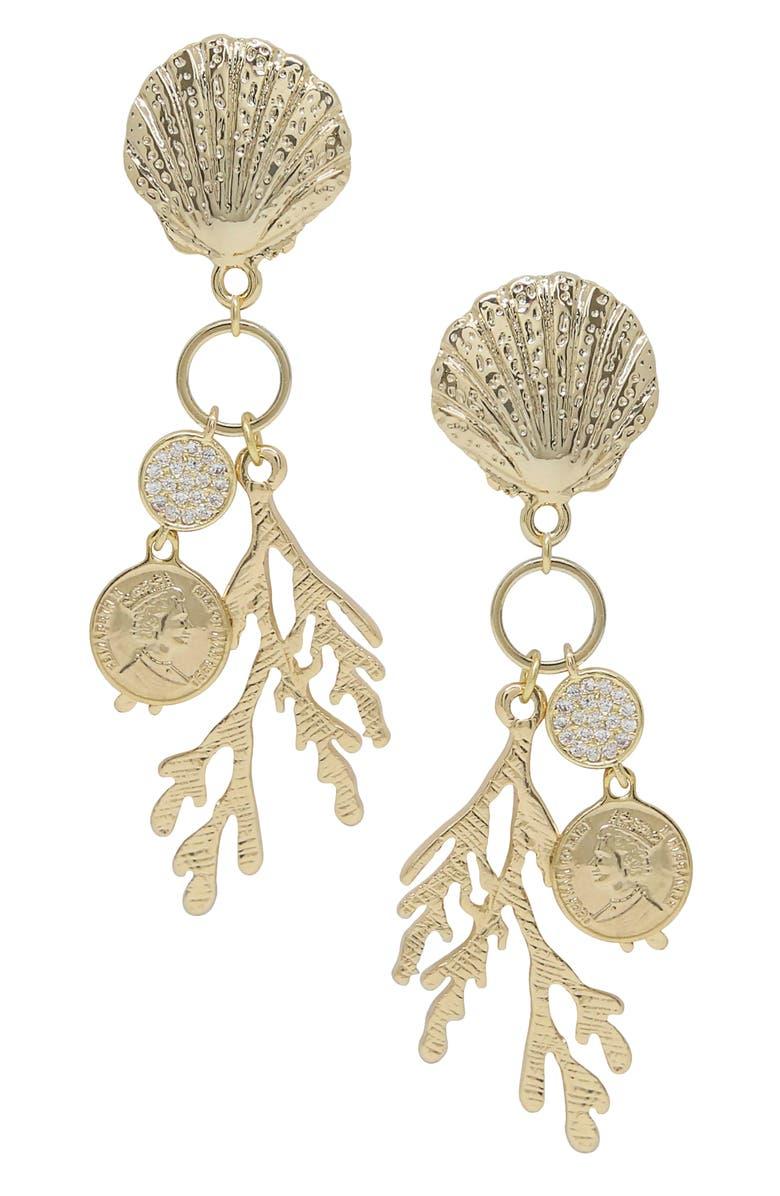 ETTIKA Coral Shell Drop Earrings, Main, color, GOLD