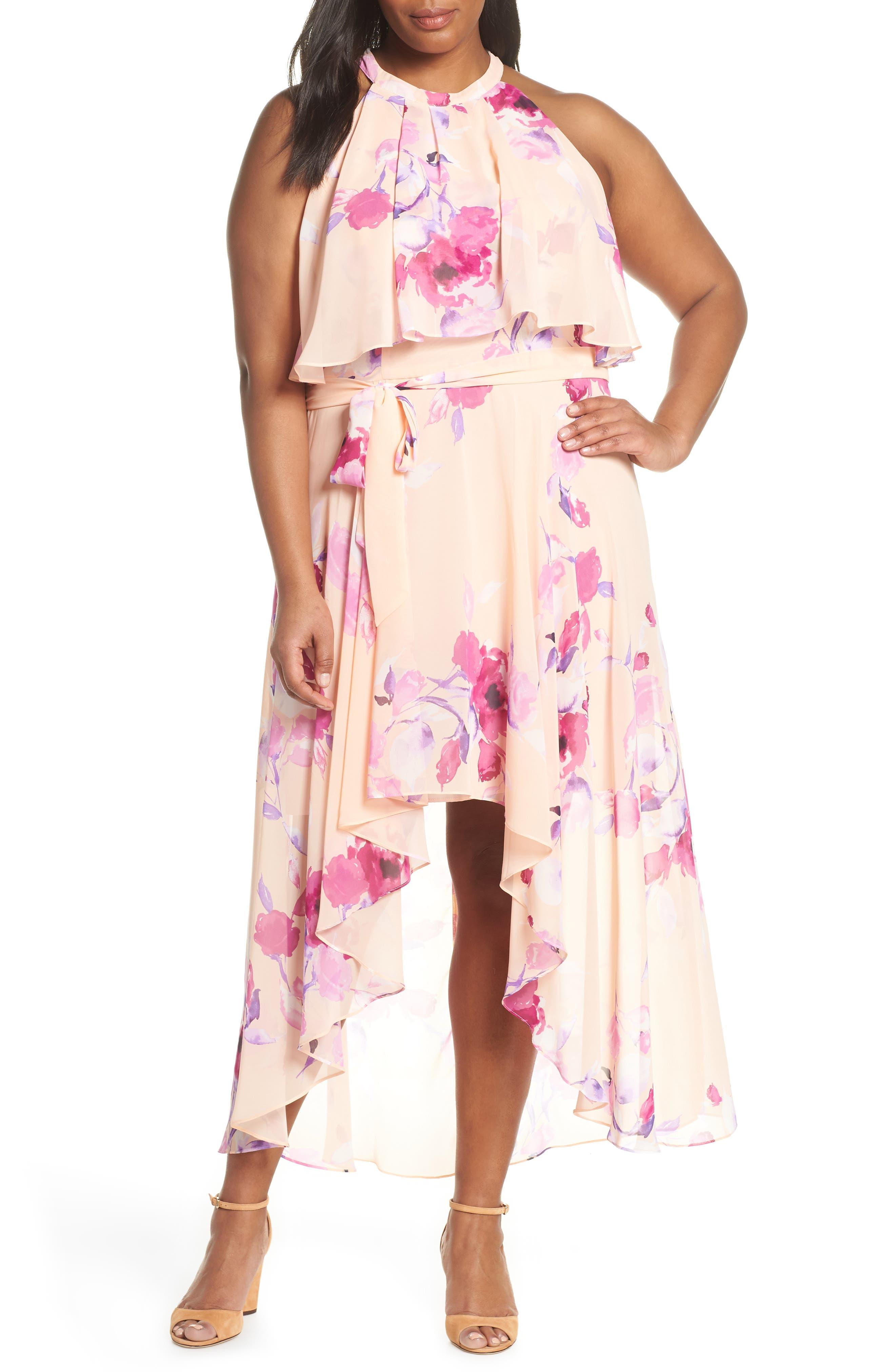 Plus Size Eliza J Halter Popover High/low Dress, Pink
