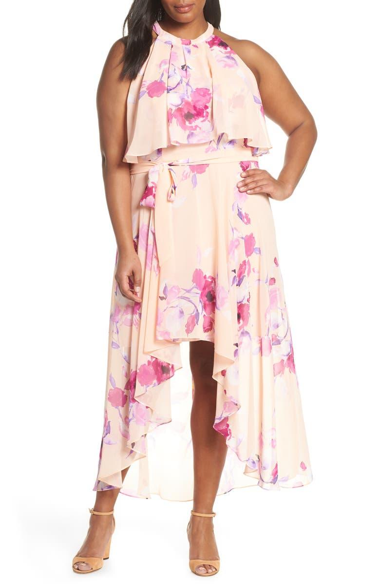 ELIZA J Halter Popover High/Low Dress, Main, color, BLUSH