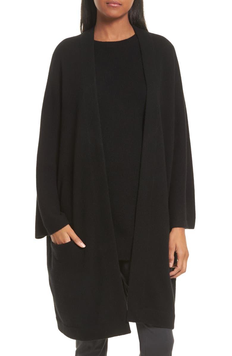 VINCE Cashmere Cardigan Coat, Main, color, 001