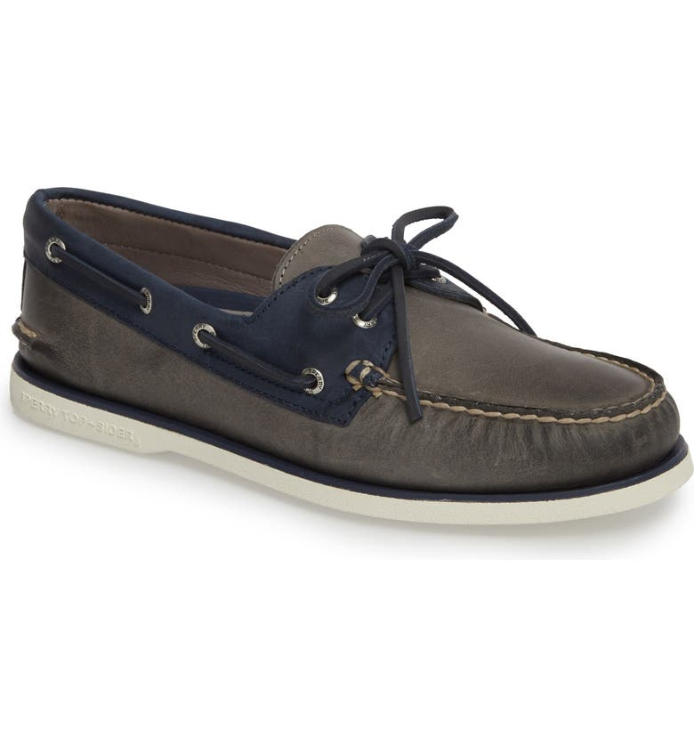 SPERRY Gold Cup Authentic Original Boat Shoe, Main, color, GREY/ NAVY LEATHER