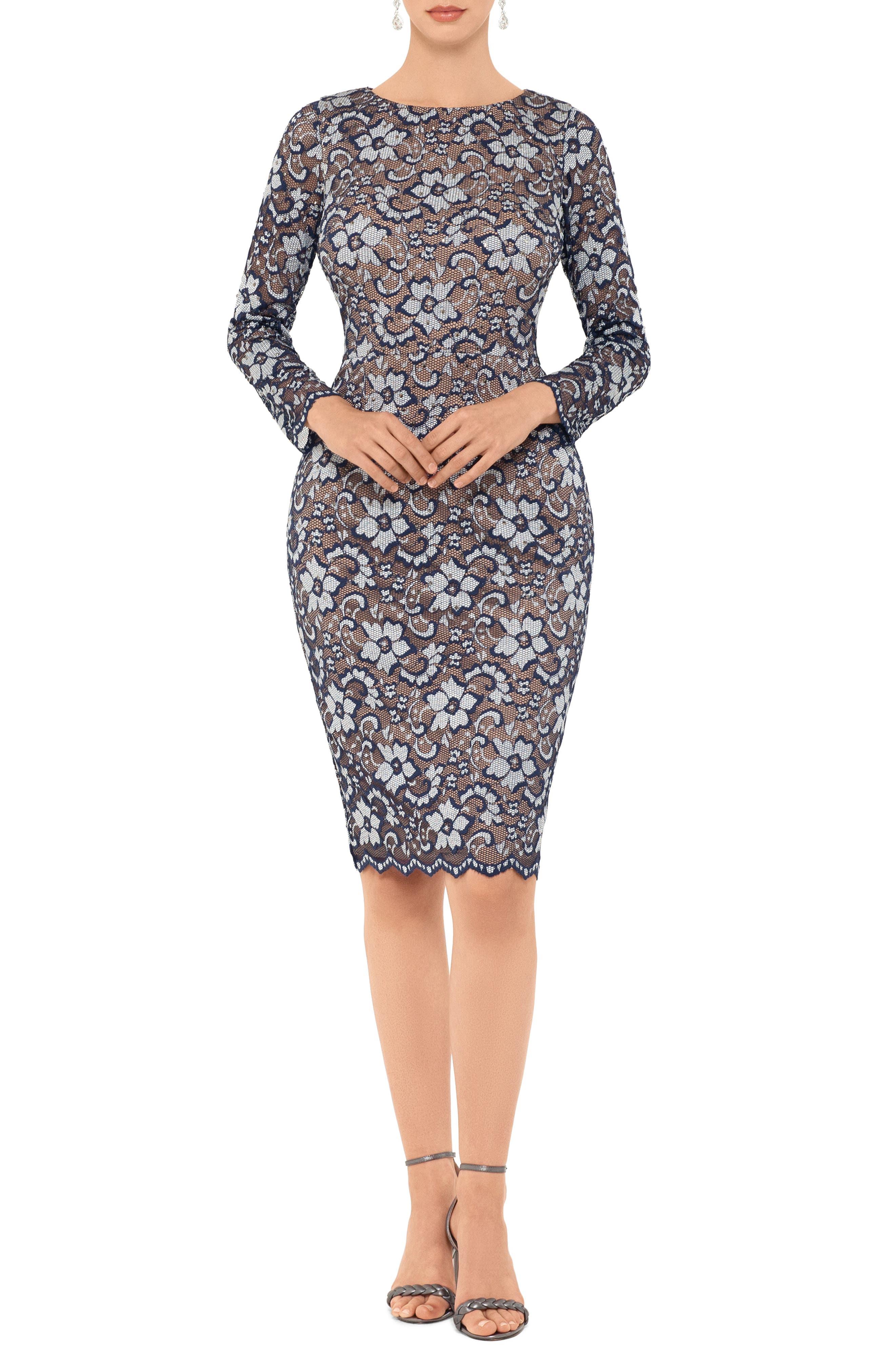 Xscape Two-Tone Floral Lace Long Sleeve Cocktail Dress, Blue