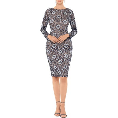 Xscape Two-Tone Floral Lace Long Sleeve Cocktail Dress, Blue